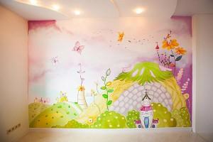 Роспись стен в детской комнате фото для маленького помещения