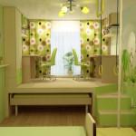 Салатовый интерьер и детская кровать подиум с рабочей зоной