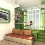 Самодельная детская комната с подиумом и выдвижными кроватями