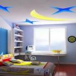Спокойный натяжной потолок в детской комнате фото