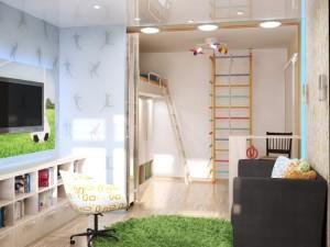 Стильное зонирование комнаты на детскую и гостиную