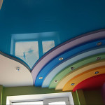 Яркий потолок из гипсокартона в детскую комнату фото