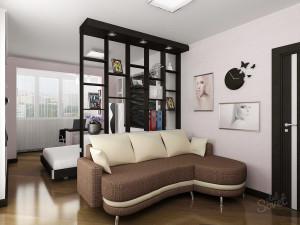 Зонирование комнаты на детскую и гостиную при помощи перегородки