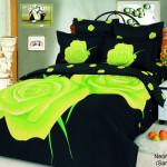Красивые покрывала на кровать фото с яркими зеленым принтом