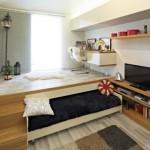 Выдвижная кровать подиум для небольшой детской комнаты