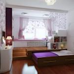 Выдвижная кровать подиум для создания зонирования помещения