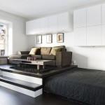 Выдвижная кровать подиум высокого размера с диваном