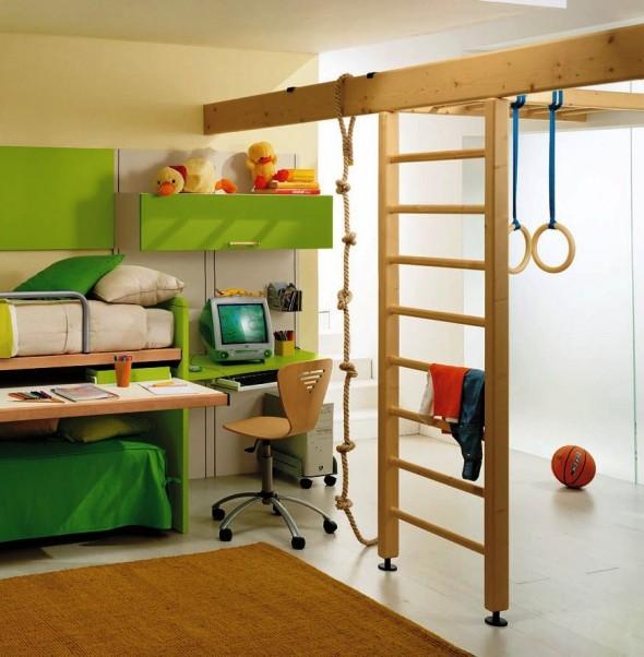 современные современные спортивные уголки в детской комнате